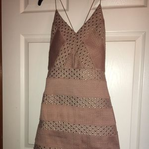 Pink with gold dot detailing cocktail dress size 2